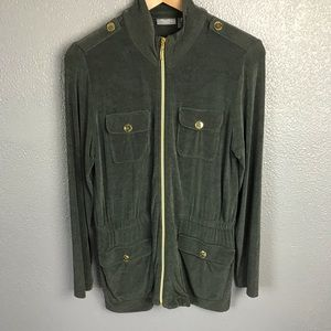 Travelers by Chico's Army Green Zip-Front Jacket